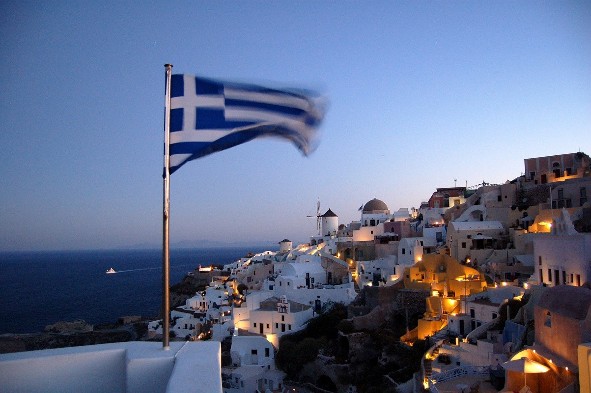 Greek flag on island