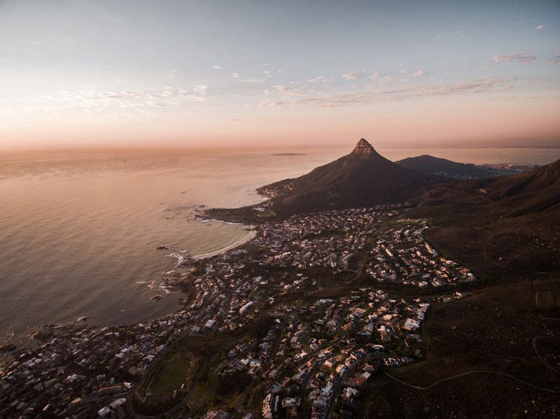 bird's eye view of cape town
